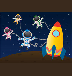 Four astronaunts flying in space vector