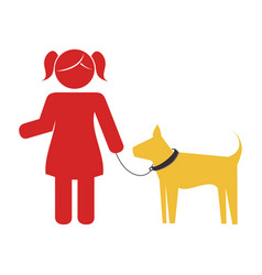 Girl with cute dog mascot icon vector