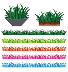 green grass and colorful grass of every seasons vector image vector image