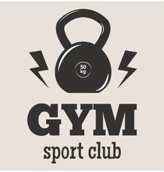 Gym fitness symbols badge vector image