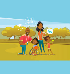 Happy african american family with disabled girl vector