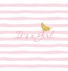 It s a girl baby shower template with gold vector