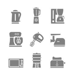 Kitchen appliances silhouette icon set vector image vector image