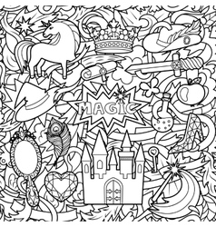 Magic doodle seamless pattern vector