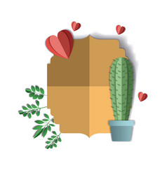 Paper cactus with hearts digital craft vector