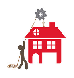 person with pulleys hanging the house vector image