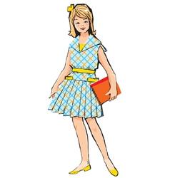 Retro school girl vector