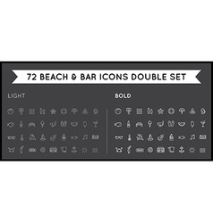 Set of thin and bold beach sea bar elements and vector