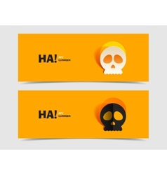 Set of two banners with carved skull vector