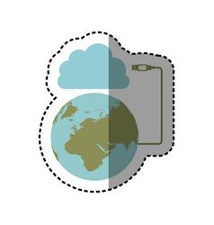 sticker cloud storage global hosting database vector image