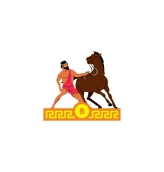 The eighth feat of heracles diomedes horses vector