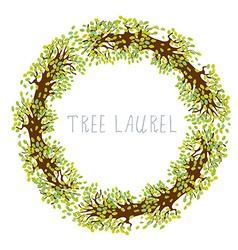 Tree laurel - round frame vector