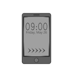 Watch on mobile phone icon black monochrome style vector