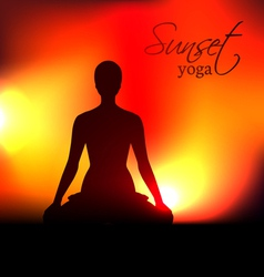 Yoga woman silhouette at sunset vector