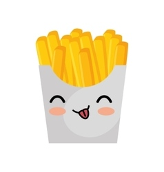 Kawaii cute french fries box icon vector