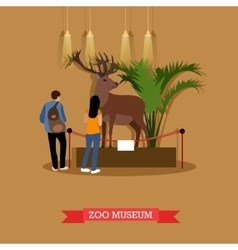 Stuffed deer and visitors vector