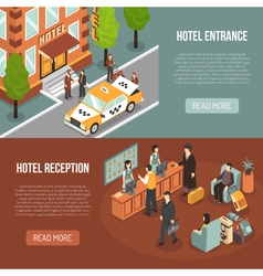 Hotel entrance reception 2 isometric banners vector