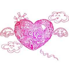 Flying i love you heart with doodles vector