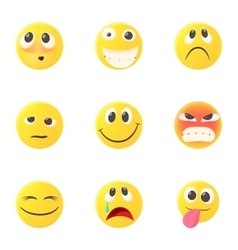 Emoticons for chatting icons set cartoon style vector
