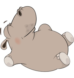 Little to hippopotamus blindly lays on a back vector
