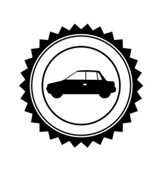 Monochrome circular seal with automobile in side vector