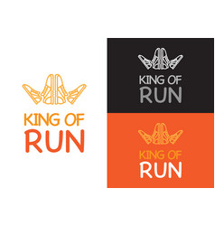 King of run on different background fitness vector
