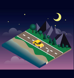 car travaler on the road near the beach and forest vector image