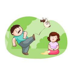 Husband kick dog for protect his wife vector