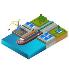 Isometric railway dock a ferry carrying train vector