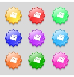 Video camera sign icon content button set vector