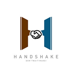 Letter H with handshake icon integrated logo vector image