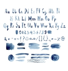 Dark blue watercolor alphabet hand drawn vector