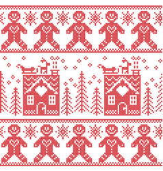 Scandinavian nordic christmas pattern with ginger vector