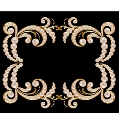 Gold frame with pearls vector