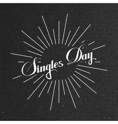 Singles day lettering label with light rays vector