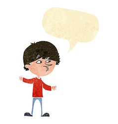 Cartoon curious man with speech bubble vector