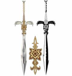 Decorative swords vector