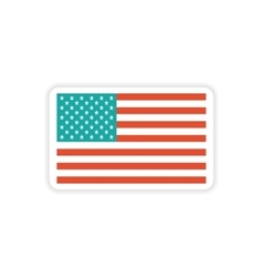 Paper sticker american flag on white background vector