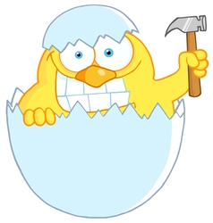yellow easter chick holding a hammer in a shell vector image