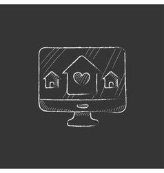 Smart house technology drawn in chalk icon vector