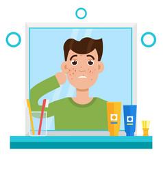 Acne men shocked men in mirror reflection vector