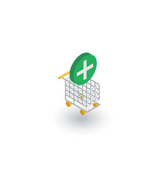 Add to shopping cart isometric flat icon 3d vector