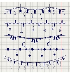 Ball pen sketch of christmas garlands vector image vector image