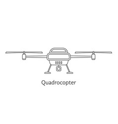 black thin line quadrocopter vector image vector image