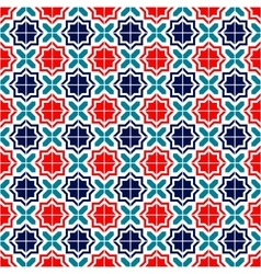 Blue red and white moroccan tiles seamless pattern vector image
