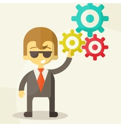 Businessman with the gears brain storming vector
