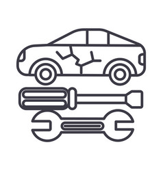 car service line icon sign vector image