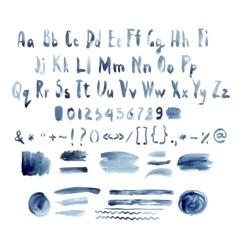 Dark blue watercolor alphabet hand drawn vector
