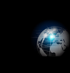 digital global network design on black background vector image