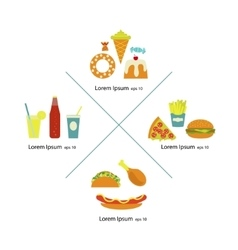Flat fast food menu icons vector